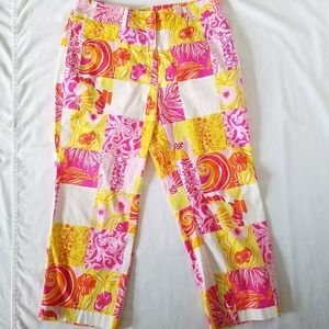 Lilly Pulitzer Cropped Pants Pink Orange Patchwork